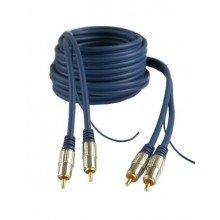 Przewód 2RCA/2RCA 3m ciemny niebieski metalowe końcówki (2757)